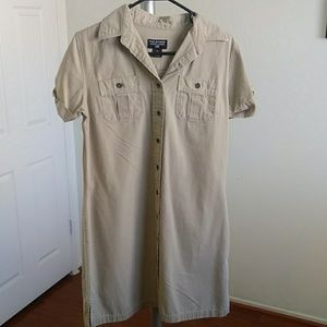 Ralph Lauren button up beige polo mini dress (EUC)